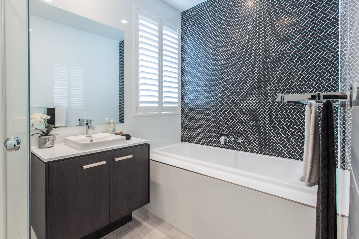 Tile Wall Behind Freestanding Tub